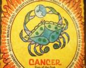 Vintage 70s Horoscope Cancer Decoupaged Wooden Art Plaque