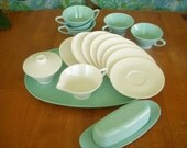 1950s Melmac Robins Egg Blue Westinghouse Platter Deluxe Serving Set - Tea Cups with Matching Cream and Sugar Bowls and Lid - Butter Dish - Matching Small White Saucer Plates