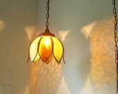 Retro Amber Sunrise and Mossy Spring Green Glass and Brass Tulip Shaped Hanging Pendant Swag Lighting Fixture