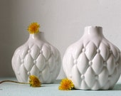 RESERVED for Jennie - Country White - Vintage quilted patterned hand made pillow bud vases made in 1965