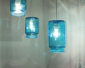 Crisp Cool Ocean Sapphire Blue Kitsch Kitchen Canister Set Lights Pendant - Upcycled Accent Light