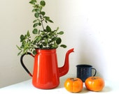 Coffee on the Farm - Vintage Rustic POPPY Red Country Chic Antique Enamel Coffee Pot