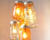 Amber Sunset Mason Jar Chandelier - Mason Jar Lighting - Clear and Tangerine - Handcrafted UpCycled BootsNGus Hanging Pendant Light Fixture