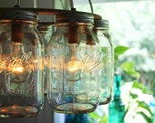 Mason Jar Chandelier - Mason Jar Light - WAGON WHEEL - Industrial Swag - Handcrafted Upcycled BootsNGus Hanging Pendant Lighting Fixture