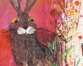 The Hare - Vintage Art Print from The Hare and the Tortoise 1967 Illustration by Brian Wildsmith - retro art print Printed in Austria