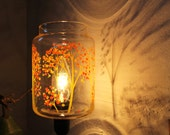 Autumn Trees - Upcycled Lamp Featuring a Vintage Glass Kitchen Canister - Table Desk Top Lighting Fixture - BootsNGus Lamp Design