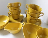 Mustard Yellow Vintage Melmac Dish Set - 25 piece Retro Melamine Dish Set in Harvest Gold - cups plates bowls gravy boat creamer sugar bowl