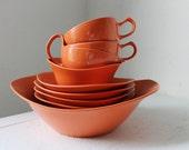 Oneida Premier Melmac dish set in Coral - Vintage Melmac dish set - 9 pieces, bowls, cups, sugar bowl, creamer