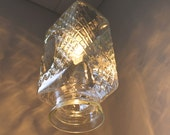 Perfectly Pressed - Crystal Clear Refrigerator Pitcher Pendant Light - Diamond Pattern Print -OOAK UpCycled BootsNGus Lighting Fixture