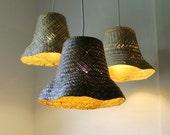 Basket Case - upcycled wicker basket hanging pendant lighting fixture - repurposed woven rattan planter lamp - OOAK BootsNGus design