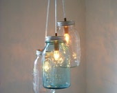 Special Order -Diane Dungca - Two Ring Canopy Chandelier - Winters Light 3 Jar Cluster Chandelier - Bee Hive Pendant Light