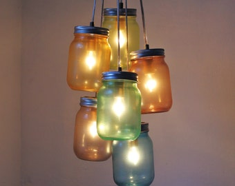 Over The Rainbow Mason Jar Chandelier - Handcrafted UpCycled BootsNGus Hanging Pendant Lighting Fixture - Rustic Modern Country Home Decor