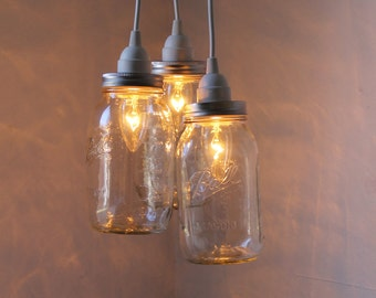 Summertime Charm Mason Jar Chandelier - Three Ball Mason Jar Hanging Pendant Chandelier Cluster Light - UpCycled BootsNGus Lighting Fixture