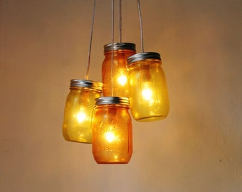 Lemons and Oranges - Mason Jar Chandelier - 4 pint jars - Handcrafted Mason Jar Lighting Fixture - Upcycled BootsNGus Lamp - Direct Hardwire