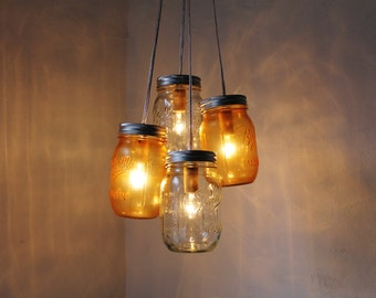 Mason Jar Chandelier, Hanging Mason Jar Lighting Fixture, Orange & Clear Mason Jars, Upcycled Rustic BootsNGus Chandeliers and Home Decor
