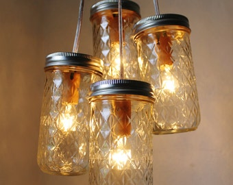 Firefly Dance Mason Jar Chandelier - 4 Quilted Pint Jars - Handcrafted Mason Jar Lighting Fixture - Upcycled BootsNGus Lamp Direct Hardwire