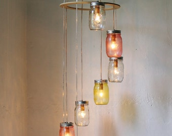 Pink Lemonade MASON JAR CHANDELIER Hanging Light Fixture - Spiral Waterfall Rustic Mason Jar Wedding Lighting - Modern BootsNGus Lamp Design