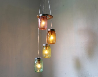 Over the Rainbow Mason Jar Chandelier - Spiral Cascading Waterfall Hanging Mason Jar Lighting Fixture - Upcycled BootsNGus Lamp Design