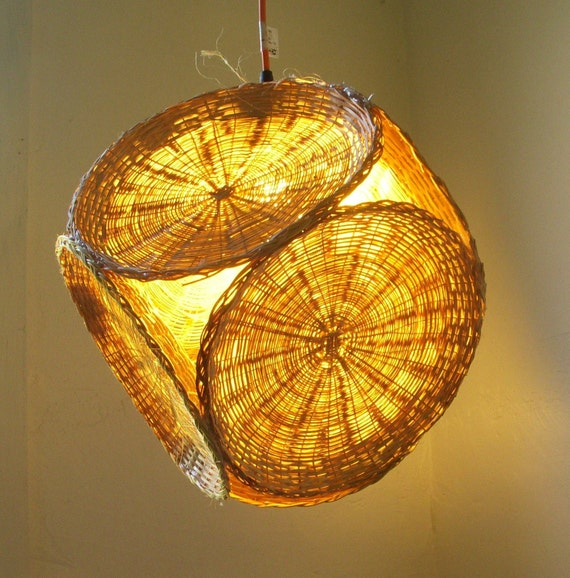 UpCycled ReCycled Repurposed Handmade Harvest Yellow Fall Wicker Picnic Plate Holder Diamond Shaped Any Room or Living Space Hanging Pendant Lighting Fixture