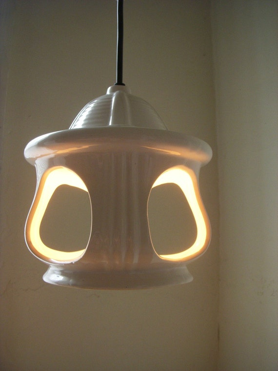 Contemporary CREAM Colored Ceramic Hanging Lighting Fixture - UpCycled Original BootsNGus OOAK Lamp Design Collection