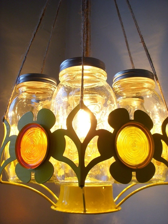 UpCycled ReCycled Spring Daisy Orange and Yellow Stained Glass Ball Mason Jar Basket Chandelier Hanging Pendant Lighting Fixture