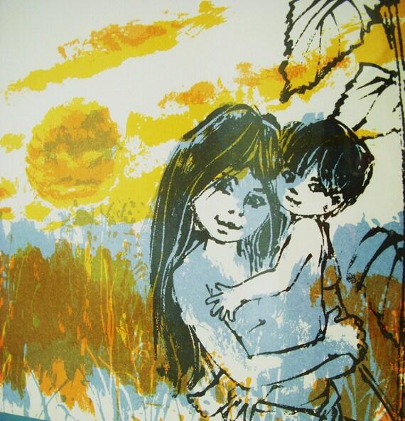 The SUNFLOWER Garden - Upcycled Vintage Kids Book Framed Wall ART