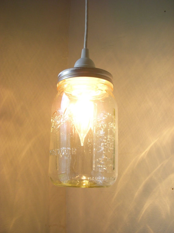 MASON JAR PENDANT Lamp Upcycled Hanging Lighting By BootsNGus