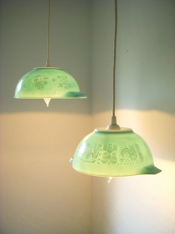Summer Mornings Robins Egg Blue Farmhouse Motif Pyrex Glassware Bowls Light Hanging Pendant Lighting Fixture - UpCycled ReCycled Repurposed - Pair of 2 Swag Lights