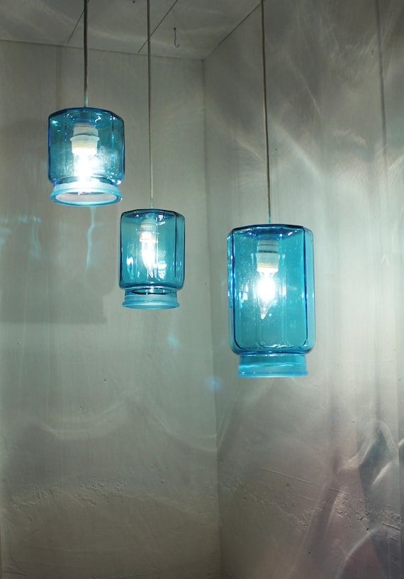 Crisp Cool Ocean Sapphire Blue Kitsch Kitchen Canister Set Lights Pendant - Upcycled Accent Light