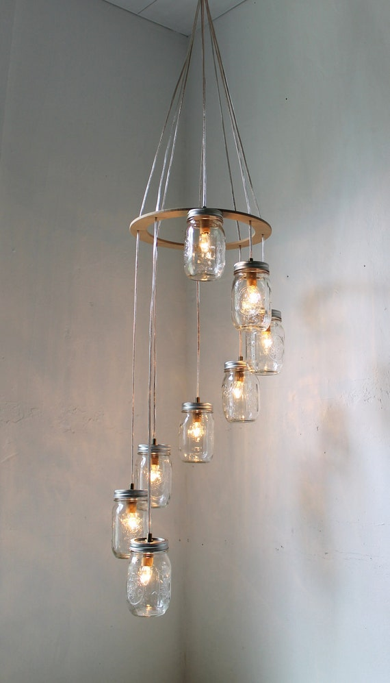 Spiral Mason Jar Chandelier, Rustic Hanging Pendant Lighting Fixture, 8 Clear Jars, Modern BootsNGus Lighting & Home Decor, Bulbs Included