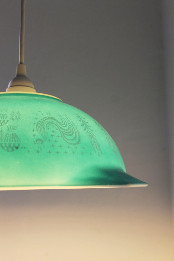 Winter Mornings Robins Egg Blue Butterprint Motif 4 Quart Pyrex Mixing Bowl Pendant Light - UpCycled Eco Friendly Original BootsNGus Design