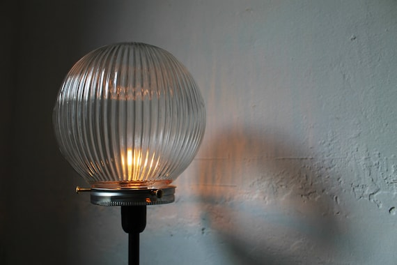 Summer Nights Street Lights - Crystal Clear Textured Holophane Glass Globe Orb Table Top Lamp - UpCycled Light Fixture -  BootsNGus Lamps