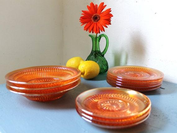 Orange Cranberry - Vintage CARNIVAL Glass Plate Set - 3 serving bowls - 5 dessert salad bread plates - 3 saucers coasters