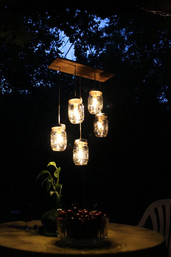 Mason Jar Lighting Mason Jar Chandelier Hanging Swag Lamp Light Lights - Eco Friendly Wedding - Original BootsNGus Design