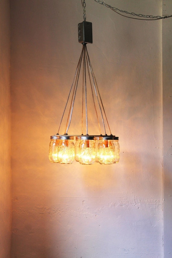 Wagon Wheel Mason Jar Chandelier Upcycled Handcrafted Modern