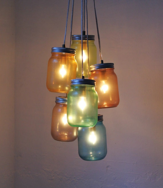 Items similar to over the rainbow mason jar chandelier for Hanging lights made from mason jars
