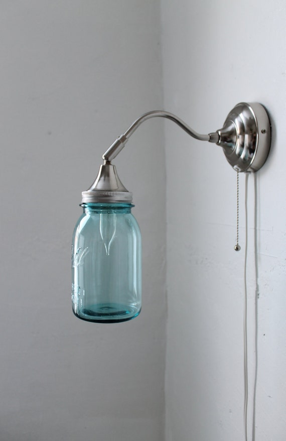 Mason Jar Sconce Lamp, Stainless Steel Gooseneck Wall Sconce Featuring An Antique Blue Quart Mason Jar Shade, Upcycled BootsNGus Lighting