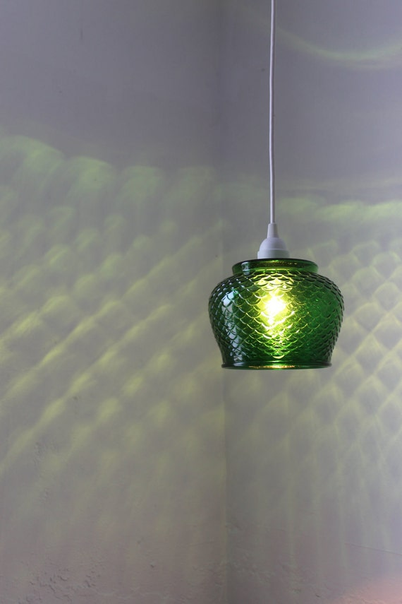 Emerald Green Glass Hanging Pendant Lamp - UpCycled OOAK BootsNGus Lighting Fixture Featuring a Vintage E.O. Brody Co. Fish Scale Vase Bowl