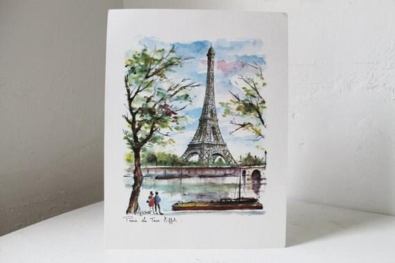 Paris - La Tour Eiffel - vintage 1950's watercolor art print - ready to frame