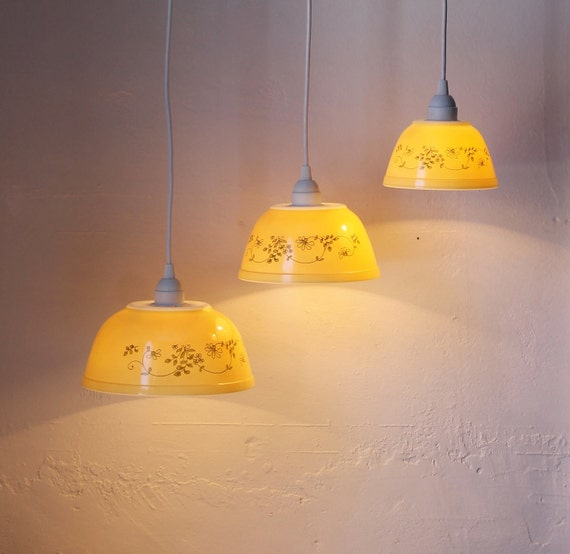 Shenandoah Yellow - Buttercream and Floral Filigree Pattern PYREX Hanging Pendant Lights - OOAK UpCycled BootsNGus Lighting Fixtures
