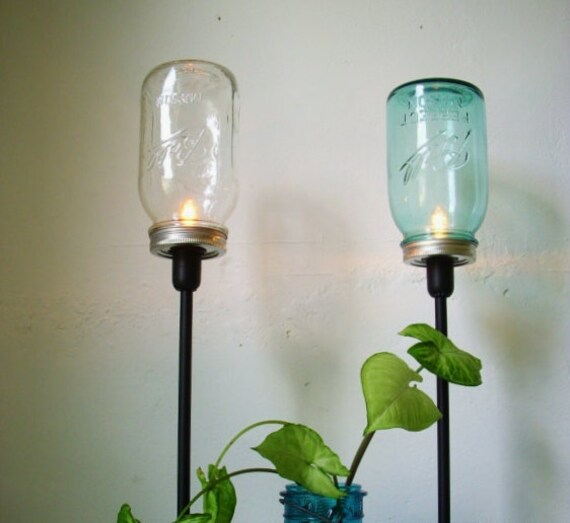 Set of 2 Sapphire Blue and Clear Mason Jar Table Top Lamps - Rustic Industrial Lighting Fixtures - Upcycled BootsNGus Light Design