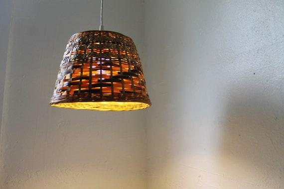 Basket of Light - upcycled wicker basket hanging pendant lighting fixture - repurposed woven rattan planter lamp - OOAK BootsNGus design