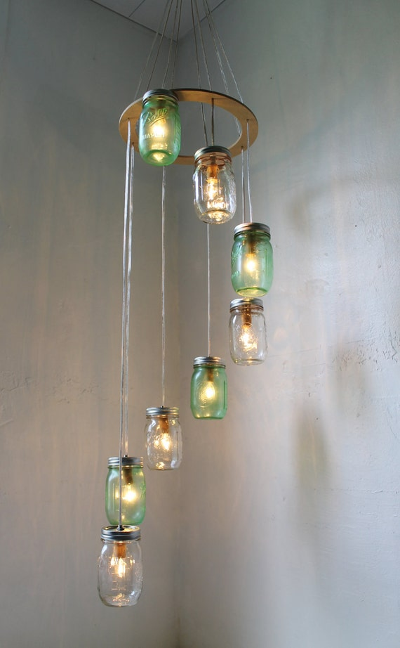 go green mason jar chandelier hanging lighting by bootsngus. Black Bedroom Furniture Sets. Home Design Ideas