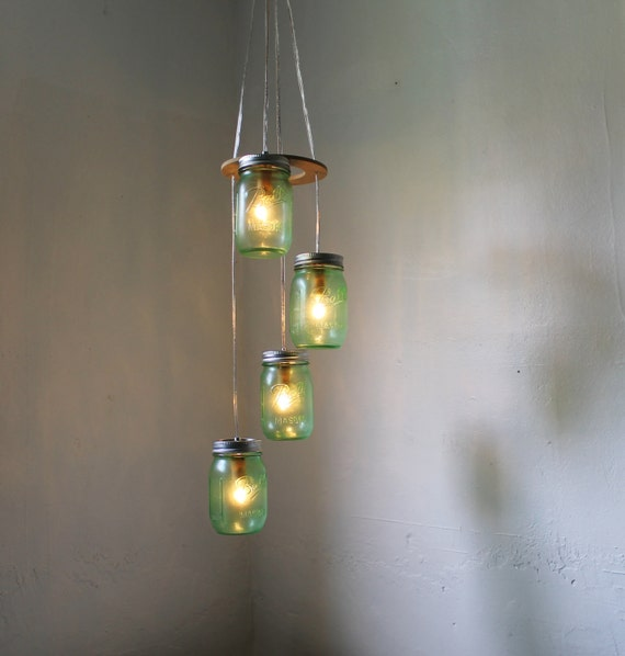 Green Day Mason Jar Chandelier - Spiral Cascading Waterfall Hanging Mason Jar Lighting Fixture - Modern Country Upcycled BootsNGus Lamps