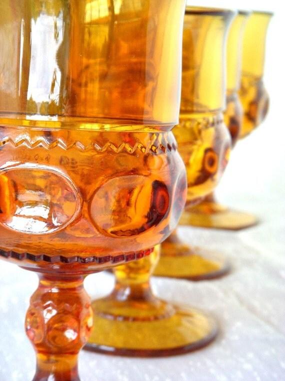 Vintage Amber Glass Goblets Set Of 4