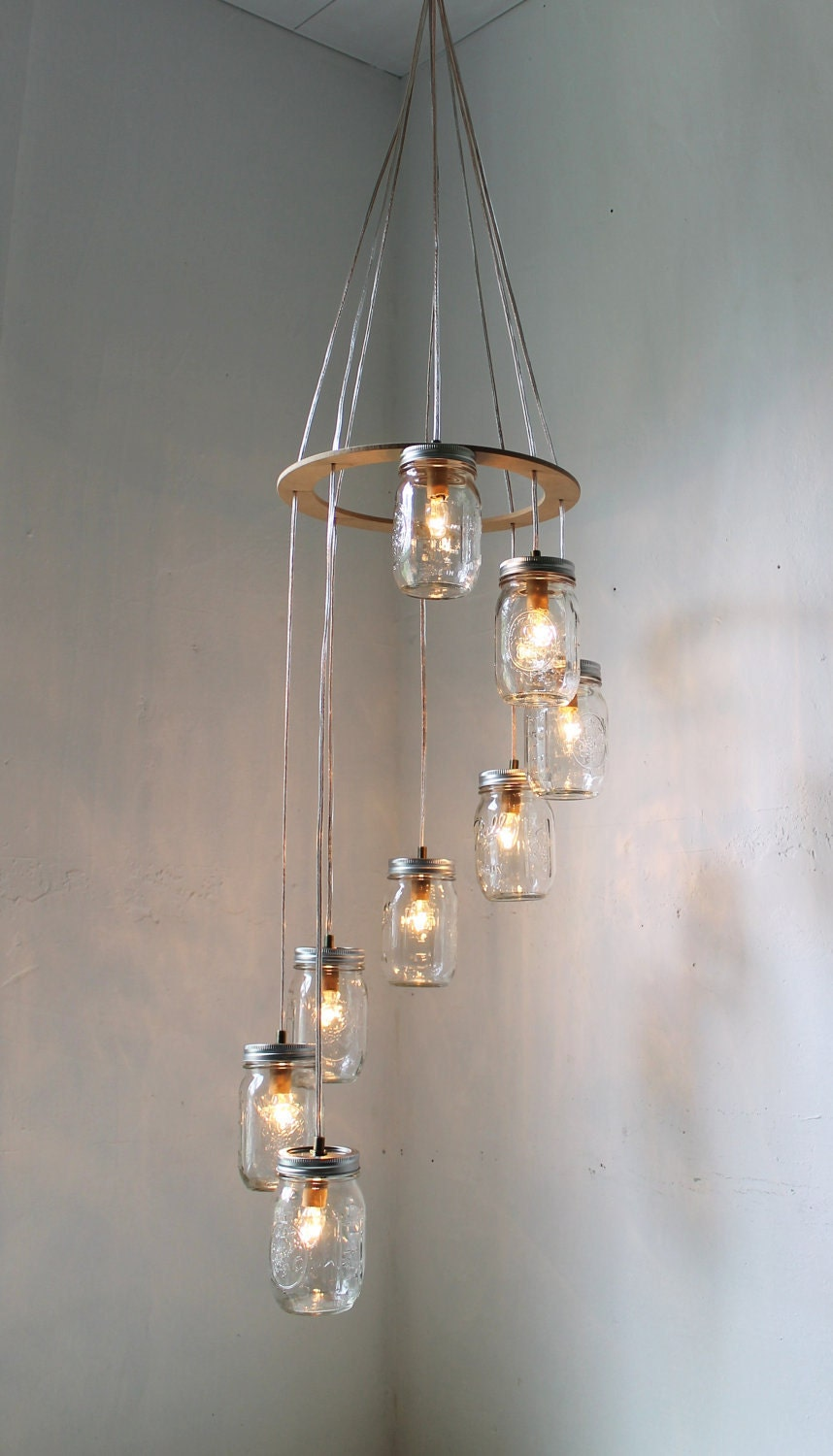Spiral mason jar chandelier rustic hanging pendant for Hanging lights made from mason jars