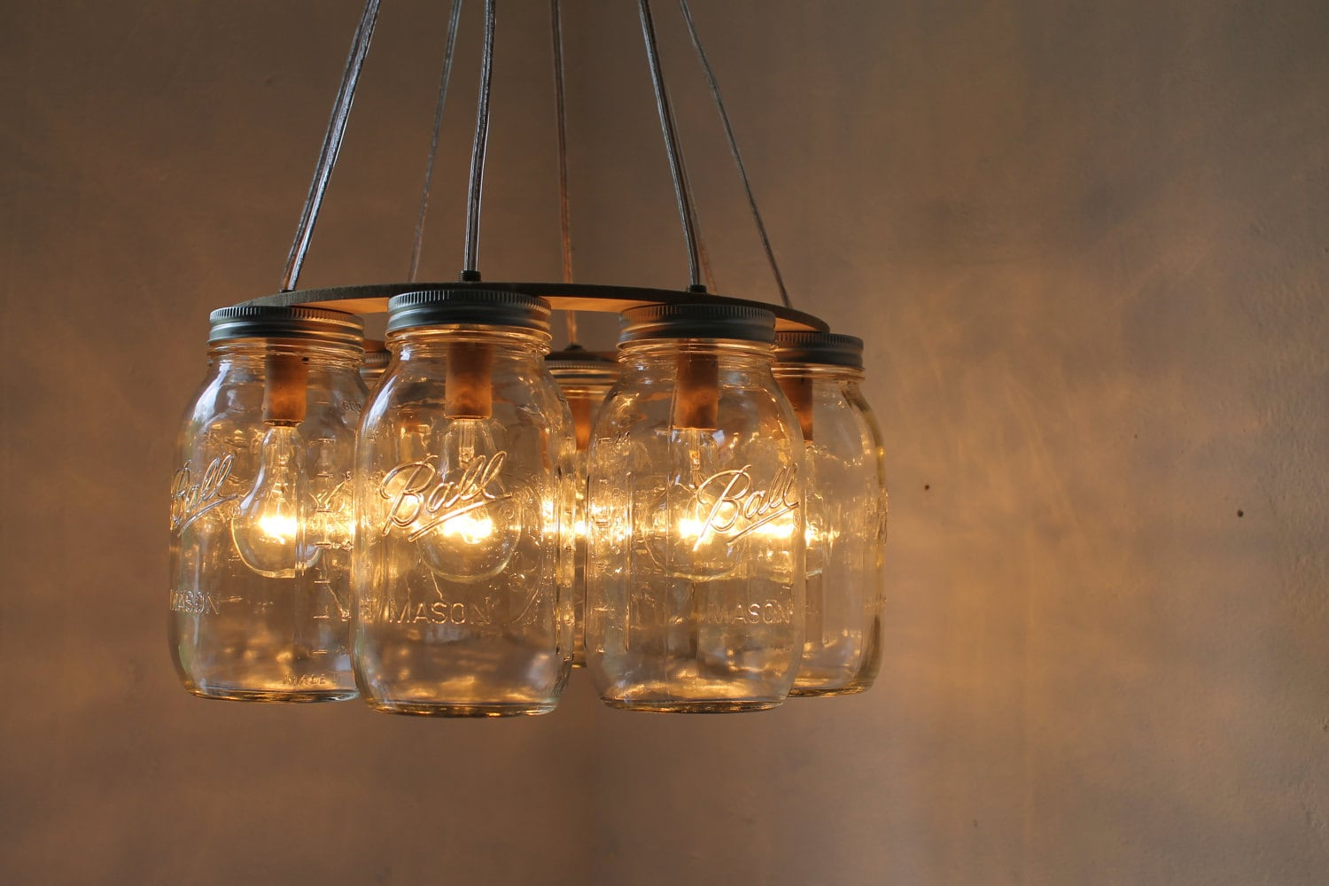 Wagon Wheel Mason Jar Chandelier Quart Sized Ball By Bootsngus