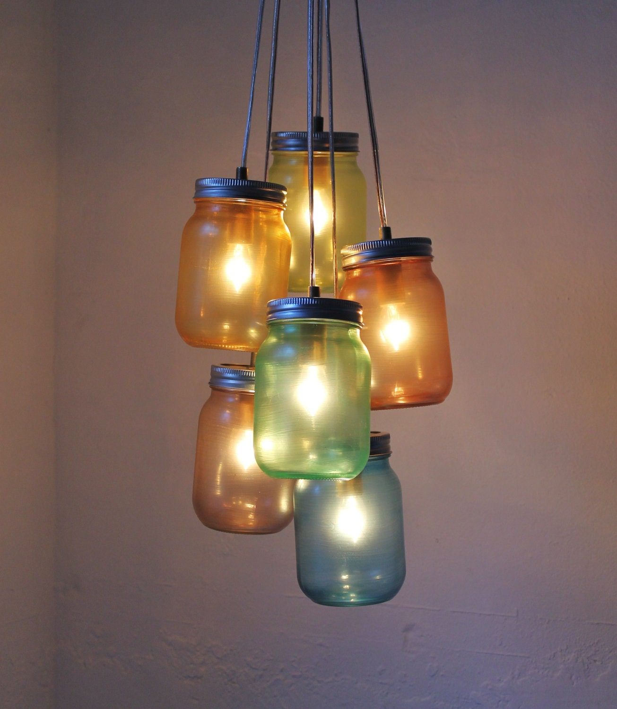 Mason Jar Lighting: Over The Rainbow Mason Jar Chandelier Handcrafted UpCycled