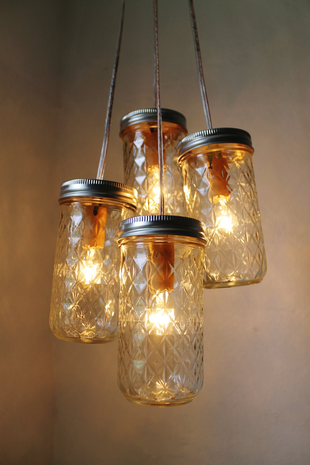 firefly dance mason jar chandelier 4 quilted pint jars. Black Bedroom Furniture Sets. Home Design Ideas