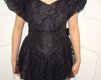 vintage black lace peplum dress